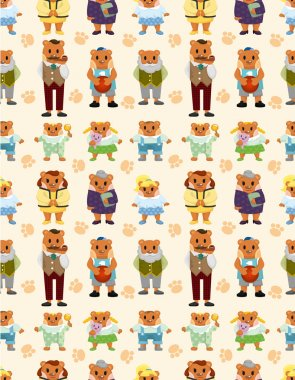 cartoon bear family icon set seamless pattern