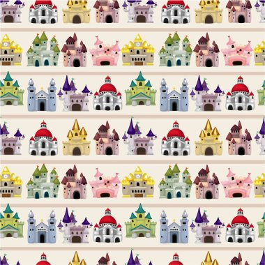 cartoon Fairy tale castle seamless pattern