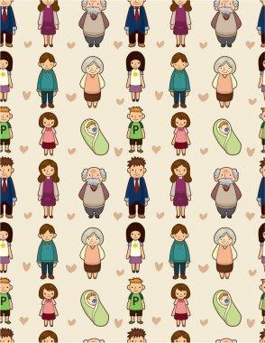seamless cartoon family pattern