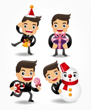 set of funny cartoon office worker with xmas element