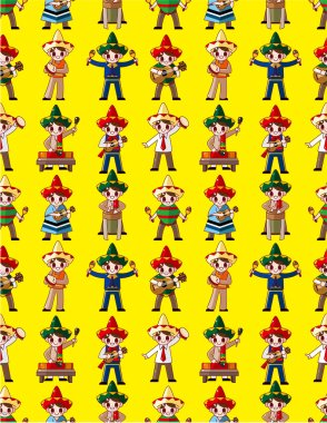 cartoon Mexican music band -seamless pattern,vector