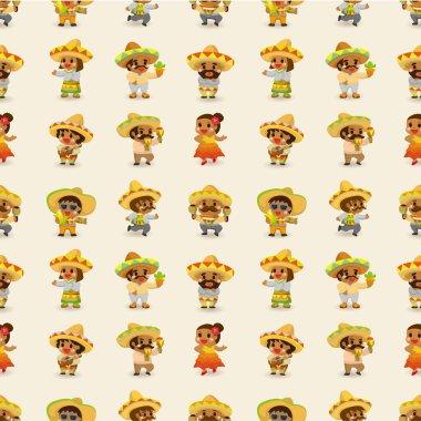 cartoon Mexican -seamless pattern,vector