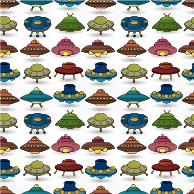 cartoon ufo spaceship seamless pattern