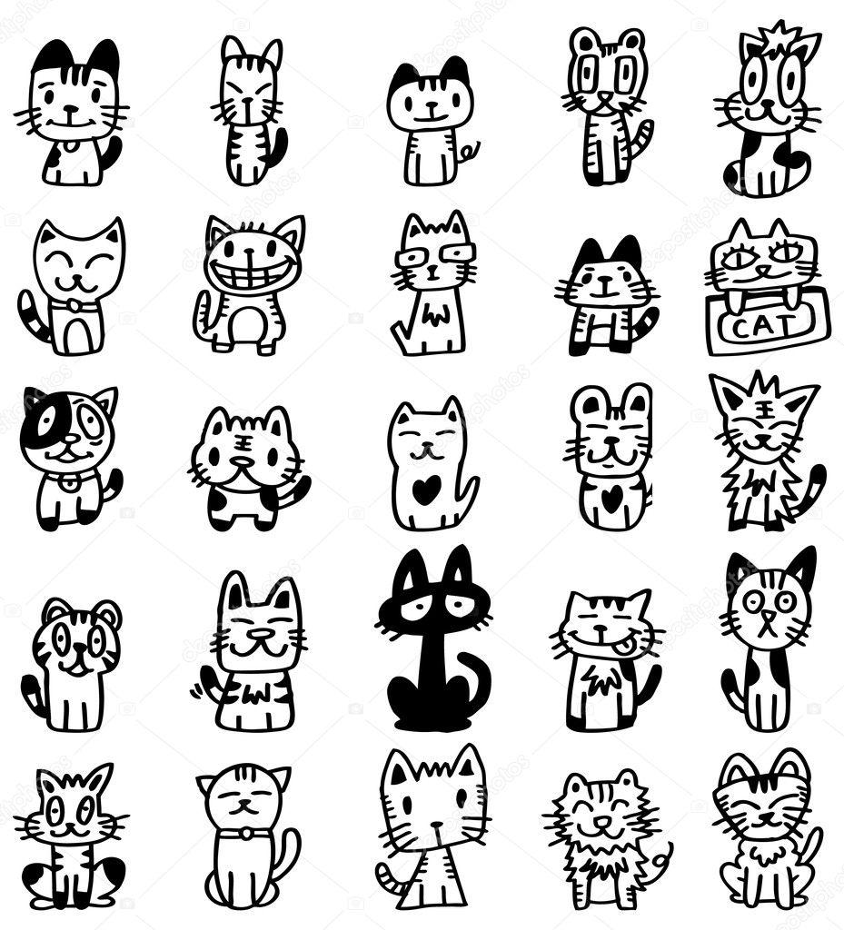 Hand Draw Cartoon Cat Icon Stock Vector C Mocoo2003 7861735