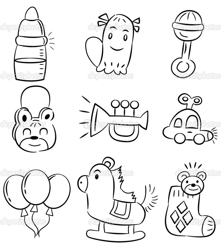 Boy Toys Drawing : Hand draw cartoon baby toy icon — stock vector mocoo