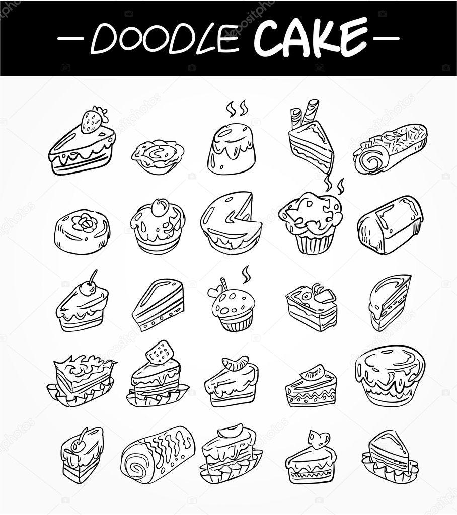 Von Hand Zeichnen Cartoon Kuchen Icons Set Stockvektor C Mocoo2003