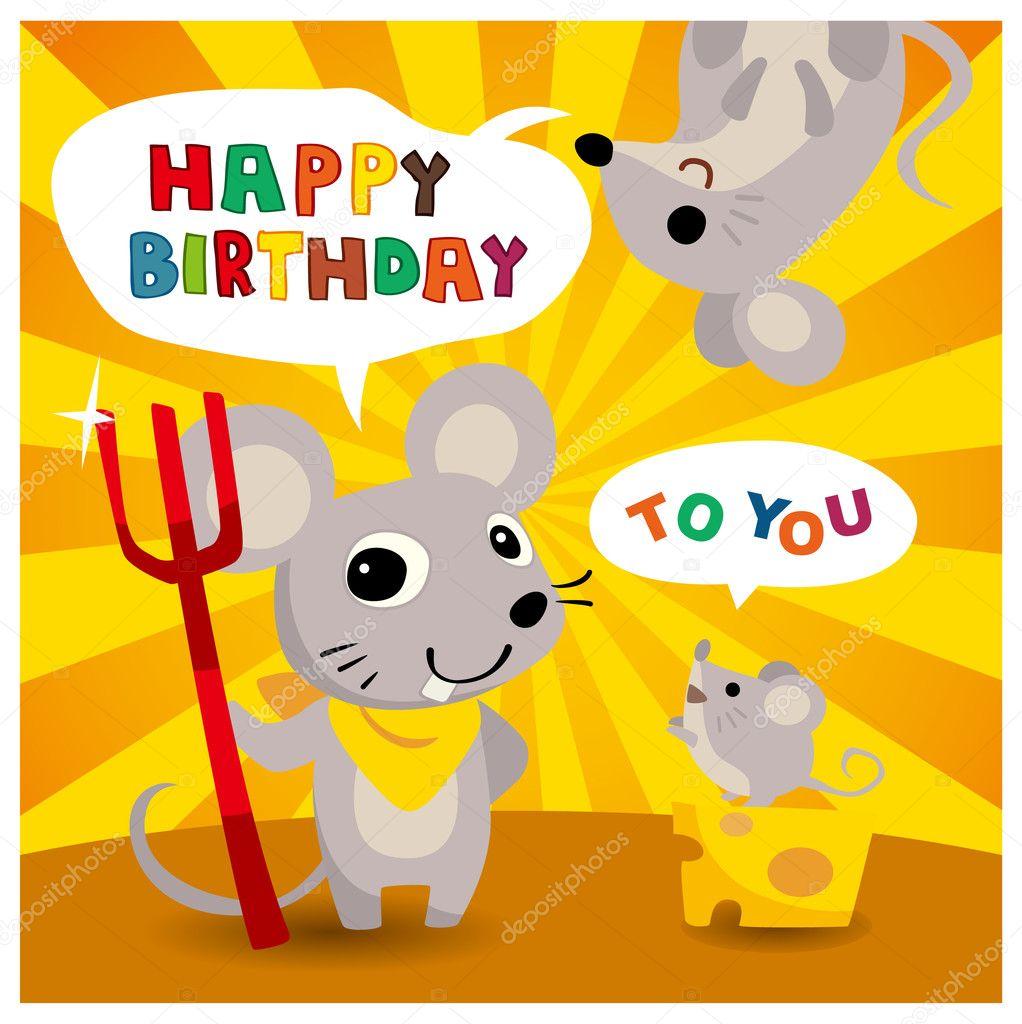 Tecknad Mus Vän Födelsedagskort