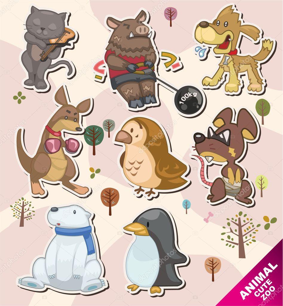 Cartoon animal icon Stickers,Label