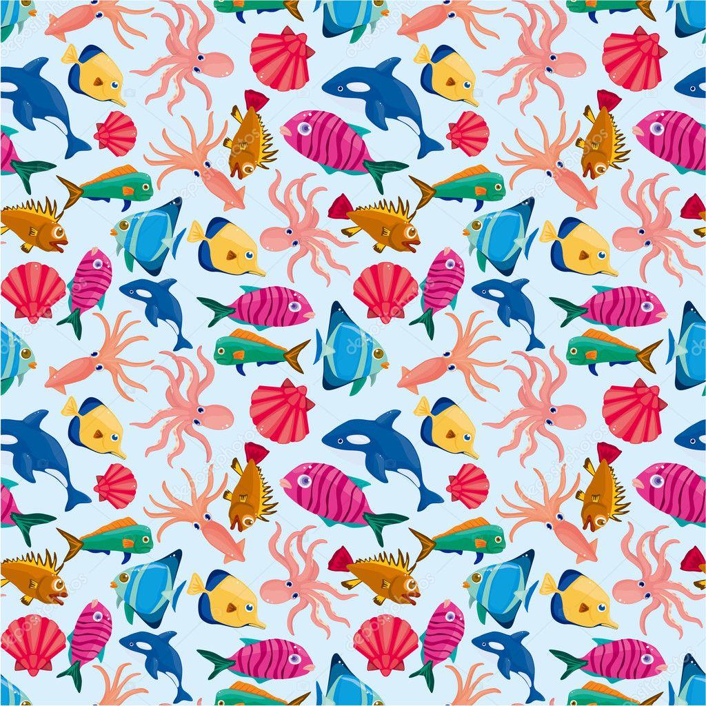 Mod le sans couture de poisson dessin anim image vectorielle mocoo2003 7864487 - Modele poisson ...