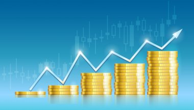 Trade diagram with golden coins money