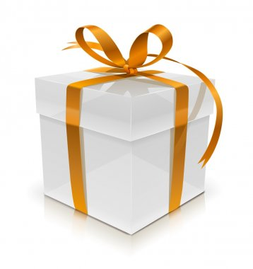 White gift box with bow vector illustration isolated on white background clip art vector
