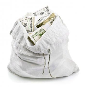 Open sack full of money dollars