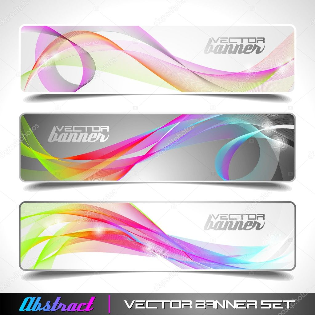 Design vector banner - Three Abstract Vector Banner Background Stock Vector 7939659