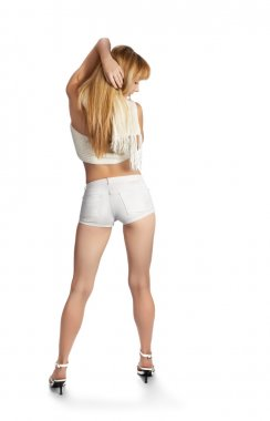 High heels girl on white, rear view