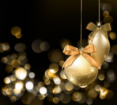 Golden Christmas lights background with ornaments