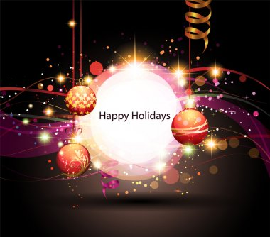 Christmas Background with banner and ornaments. clip art vector