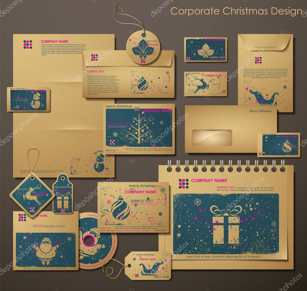 Corporate Christmas Design with Christmas Symbols
