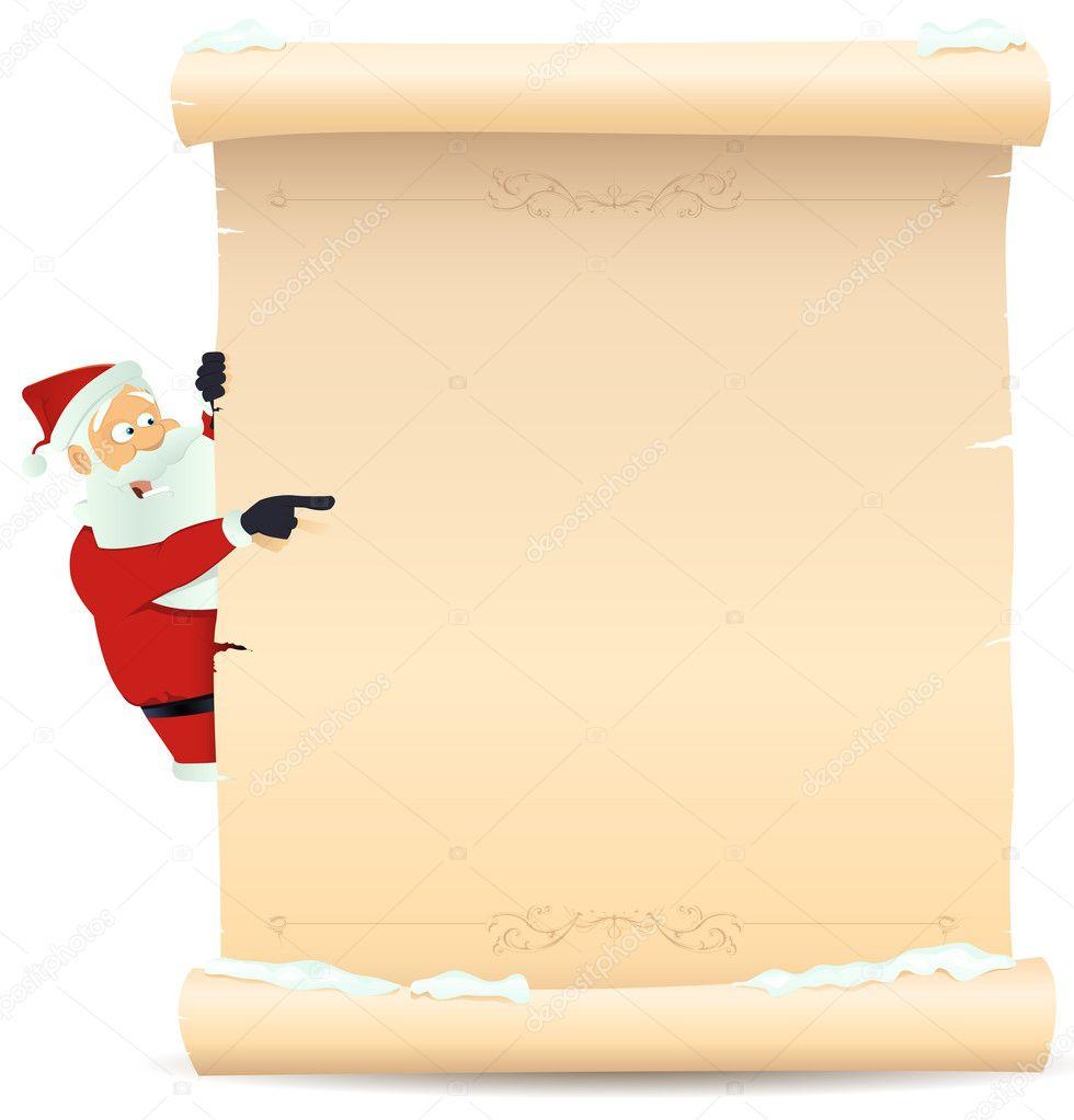 Santa Pointing Christmas List