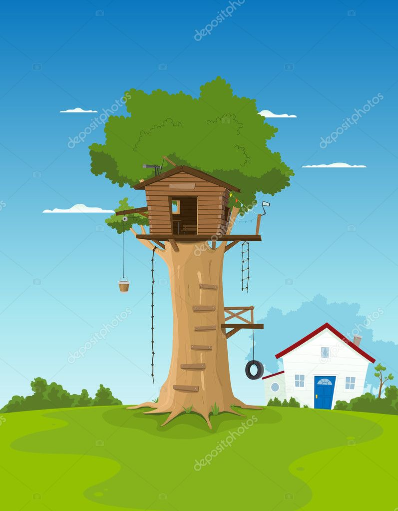 Tree House In Garden Backyard