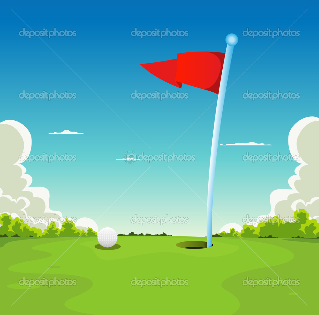 Putting Green - Golf Ball And Flag