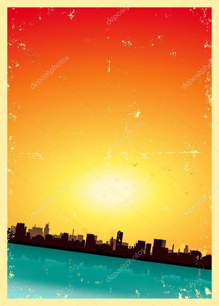Grunge Summer Or Spring Vertical Urban Landscape