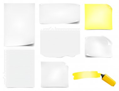 Office Paper Notes Icons Set