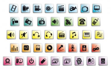 Media icons on glossy buttons