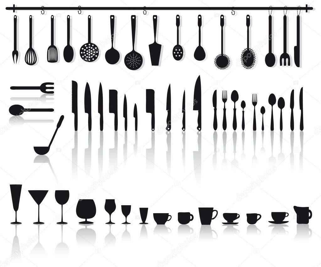 Kitchen tools, glasses and cutlery