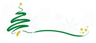 Christmas greetings card with green tree
