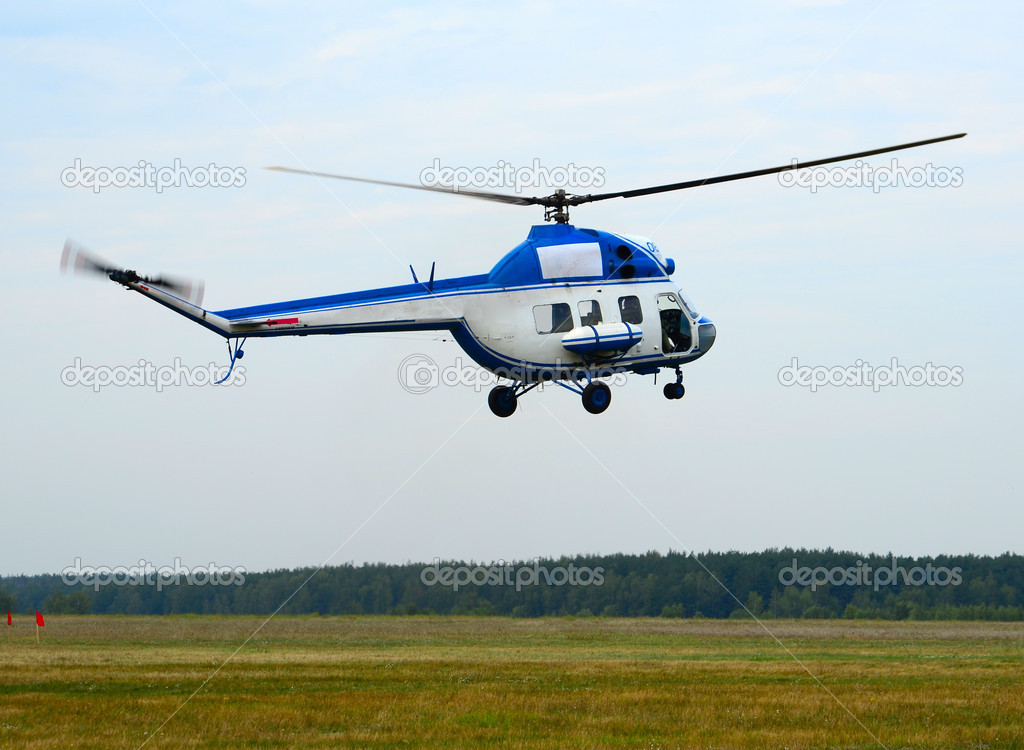 Elicottero Bianco : White and blue helicopter — stock photo tovovan