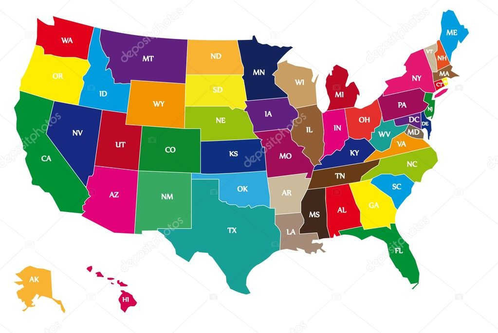 Color map of USA