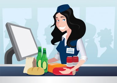 Cashier girl in supermarket