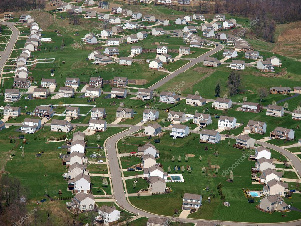 newly built eastern us suburbia aerial u2014 stock photo