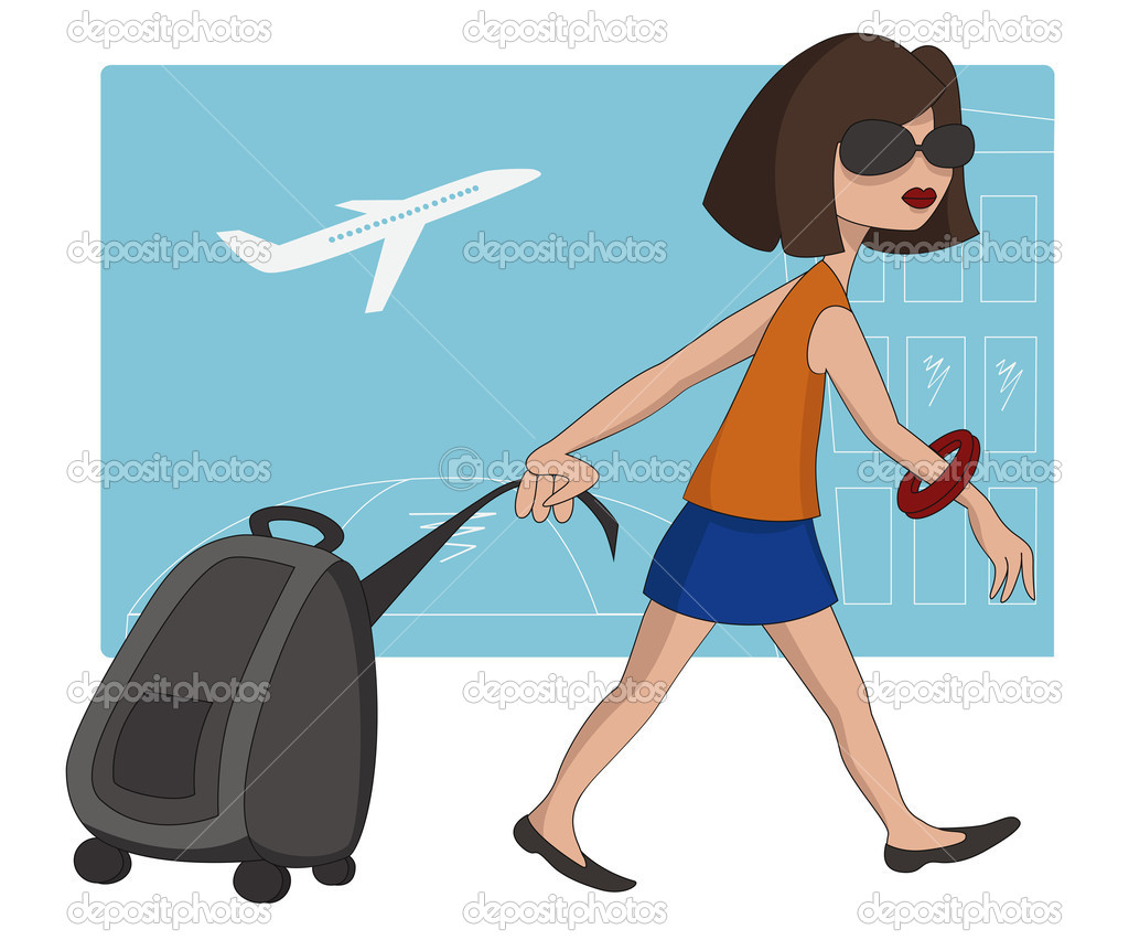 Travel Girl with luggage bag — Stock Vector © Teneresa #7915845