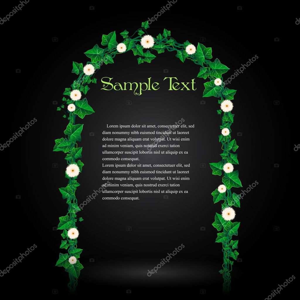 Beautiful Vector Flower Decorated Ivy Leaf Gate