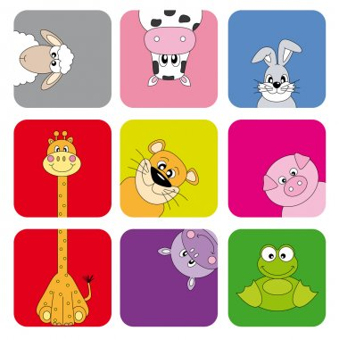 Cartoon animals and pets. Funny animal card clip art vector