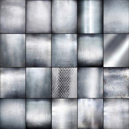 Set metal plate steel background.