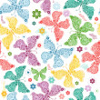 Seamless wallpaper with pastel colorful butterflie...