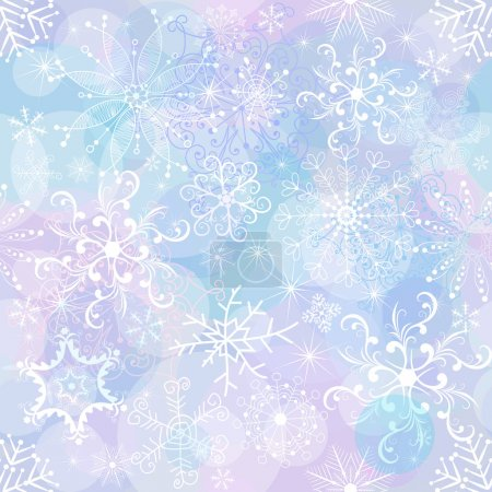 Illustration for Seamless gentle christmas pattern with chaotic snowflakes and balls (vector EPS 10) - Royalty Free Image