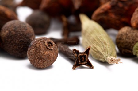 Closeup of cloves, cardamon and allspice over white background