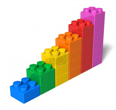 Photo for Growing bar chart from color toy blocks isolated on white background - Royalty Free Image