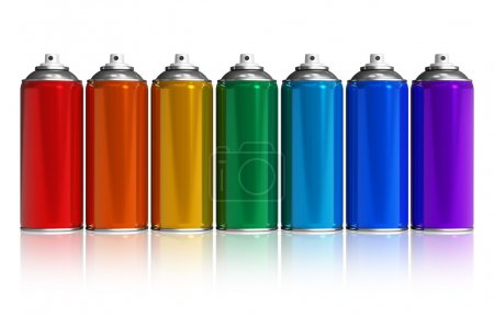 Photo for Set of rainbow paint spray cans isolated on white reflective background - Royalty Free Image