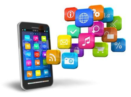 Photo pour Smartphone à écran tactile avec nuage d'icônes d'application coloré isolé sur fond blanc - image libre de droit