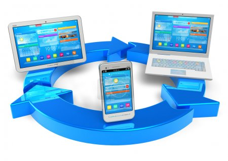 Photo for Cloud computing and wireless networking concept: white tablet PC, smartphone and laptop connected with blue round arrows - Royalty Free Image