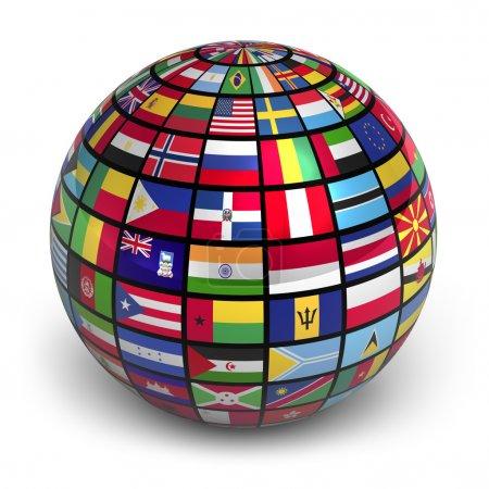 Photo pour Globe avec drapeaux du monde isolé sur fond blanc - image libre de droit