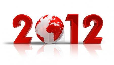 Photo pour Concept créatif 2012 nouvel an avec globe terre rouge isolé sur fond réfléchissant blanc - image libre de droit