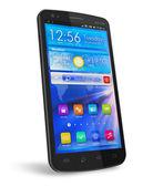 Black glossy touchscreen smartphone