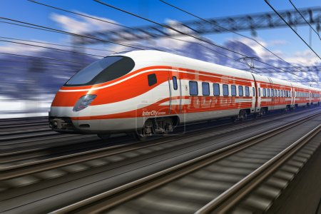 Photo for Red modern high speed train passing snowy mountain railroad station with motion blur effect - Royalty Free Image
