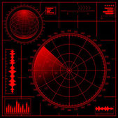 Digital Radar screen with globe Vector EPS8