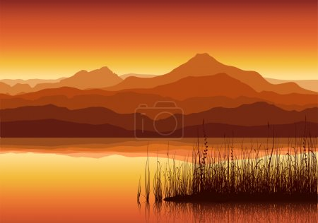 Illustration for Sunset in huge mountains near lake with grass - Royalty Free Image